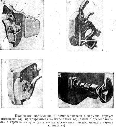 Положения подъемника и замкодержателя в кармане корпуса автосцепки